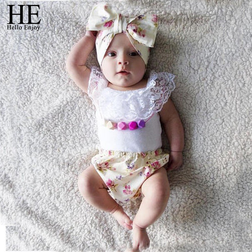 Baby Girls 3pcs Summer Outfit with Headband
