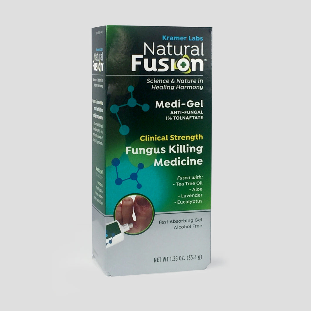 Natural Fusion Medi-Gel Antifungal 1% Tolnaftate cures Athlete's Foot. Tea Tree Oil, Lavender, Eucalyptus.  Fast Absorbing Gel.  Alcohol Free.