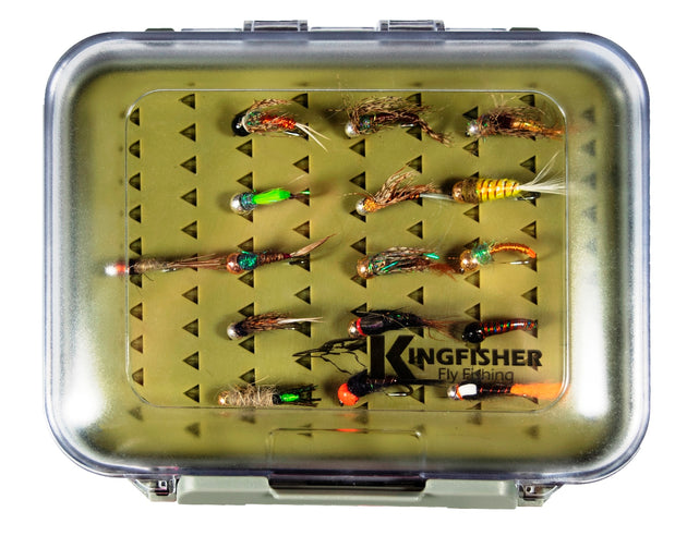 Kingfisher Large Barbless Tungsten Nymphs 16 pc's for Fast Streams In Deluxe Silicon Lined Fly Box