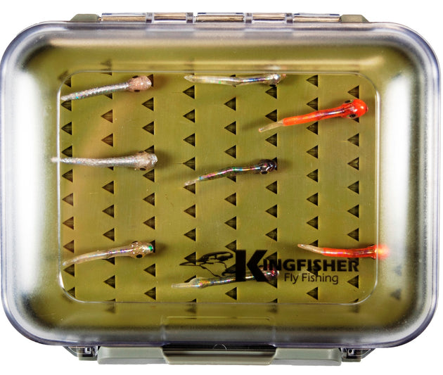 Gummy Minnow Fly Fishing Assortment 8 Pcs. In Premium Silicon Fly Box