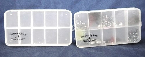 "7"" Clear 10 Compartment Poly Box w/ Hinged Lid & Hang Tab - 48 Count"