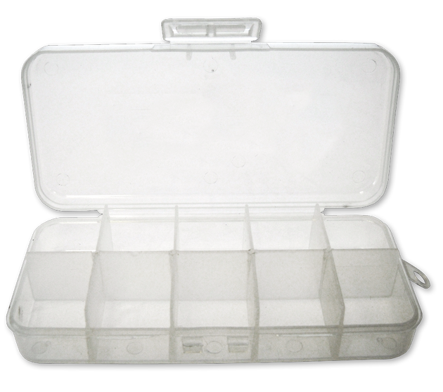 "5 1/4"" Clear 10 Compartment Poly Box w/ Hinged Lid - 48 Bulk Count"