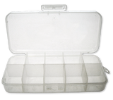 "7""  Clear 10 Compartment Poly Box w/ Hinged Lid & Hang Tab - 480 Count"