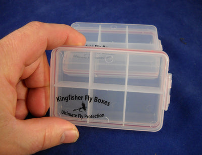 "4 1/4"" Clear 6 Compartment Poly Box w/ Hinged Lid - 96 Bulk Count"