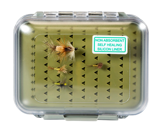 Kingfisher Water-Resistant Silicone Fly Box With FREE Black Stainless Steel Zinger