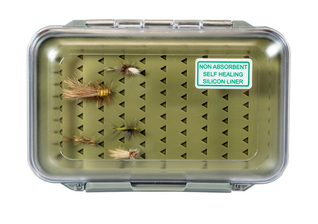Kingfisher Large Water-Resistant Silicone Fly Box with FREE Black Stainless Steel Zinger Included #1354