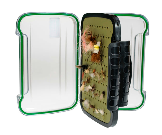 Kingfisher Large Polycarbonate Fly Box with FREE Black Stainless Zinger Included #1369