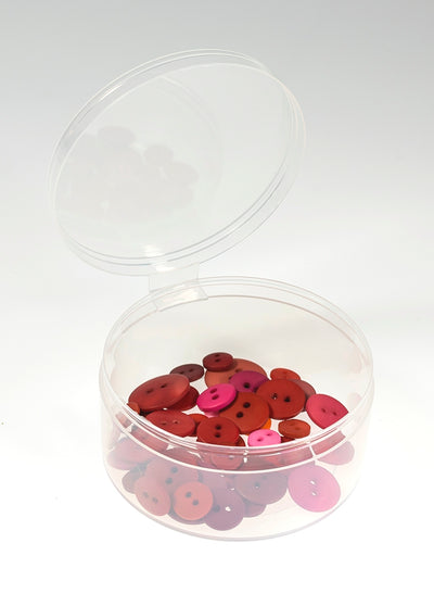 "New Phase 75 Bulk Count -3"" Large Round Plastic Containers w/ Attached Lid - #3387"