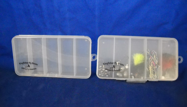 "7"" Clear 5 Compartment Poly Box w/ Hinged Lid and Hang Tab - 480 Bulk Count"