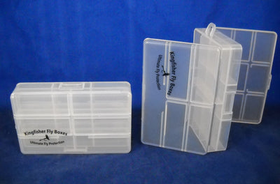 "4 1/2"" Poly Double Compartment Poly Box w/ Hinged Lid and Hang Tab - 50 Bulk Count"