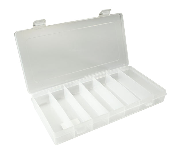 "New Phase 10"" Clear XL Poly Rectangle Box w/ 7 Compartments - # 1485 -48 Bulk Count"