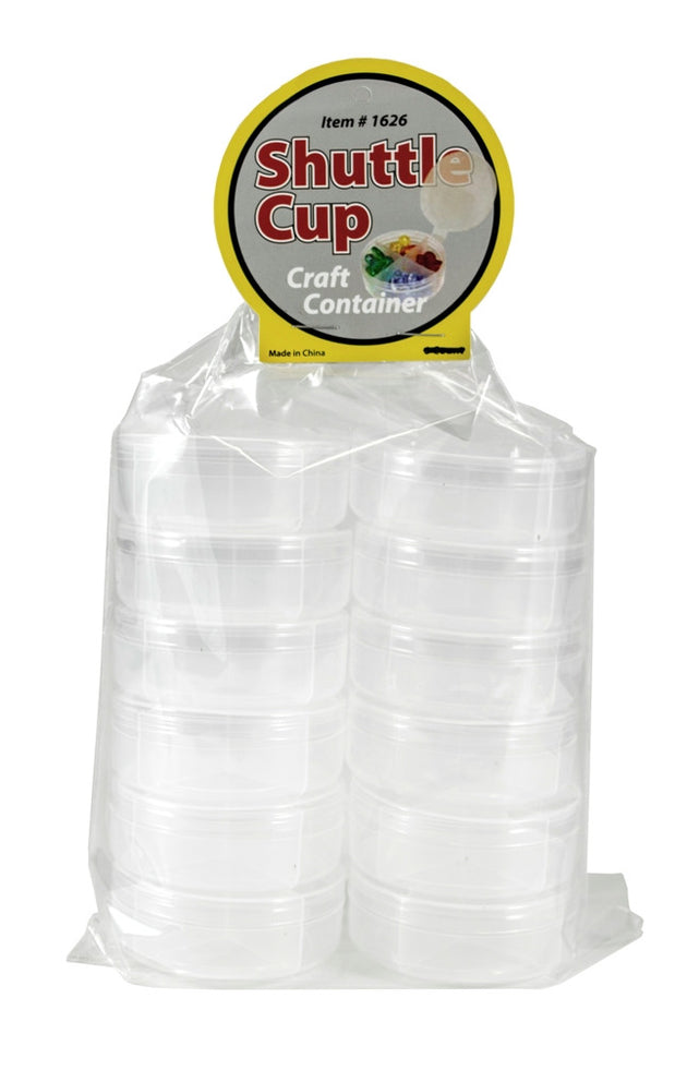 New Phase 12 Count - Clear 4-Way Divided Round Plastic Containers w/ Attached Lids - Shuttle Cups #1626