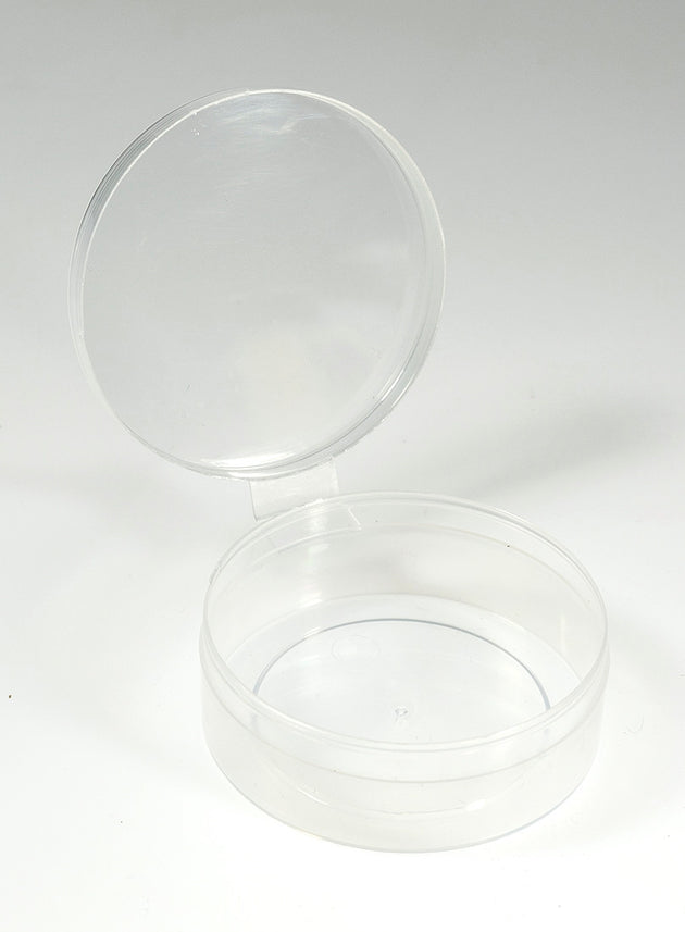 12 Count - Clear Plastic Containers w/ Attached Lids - Shuttle Cups