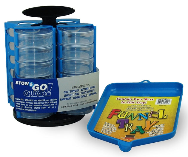 Carousel 24 Cup Bead, Hardware, Fishing, Craft Storage Organizers-1 Pair w/ 1 Free Funnel Tray …