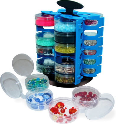 Set of 2-Carousel 24 Cup Bead, Hardware, Fishing, Craft Storage Organizers - w/ 1 Free Funnel Tray …