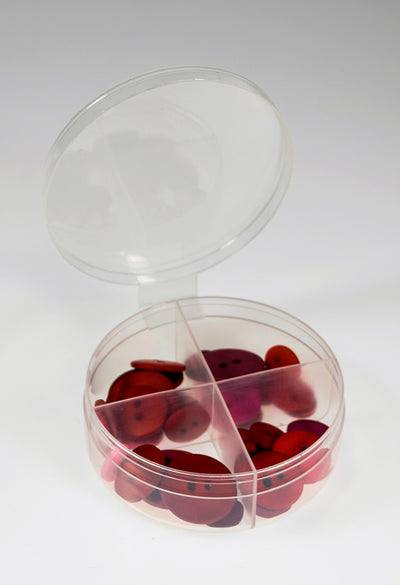 New Phase  100 Bulk Pack -Four Way Divided Round Plastic Containers--w/ Attached Lids -#1386-100 Count