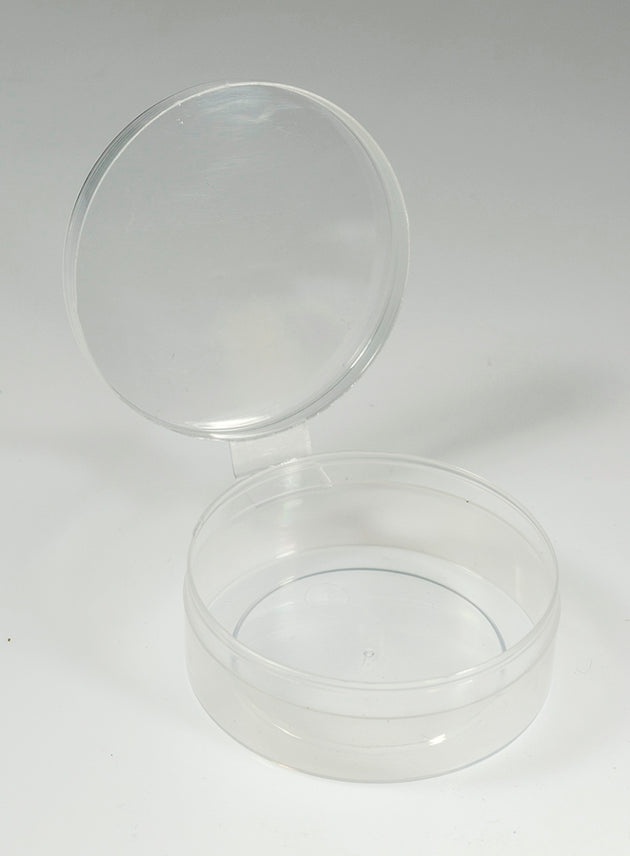 New Phase Bulk 100 Count - Clear Round Plastic Containers w/ Tethered Lids #1633