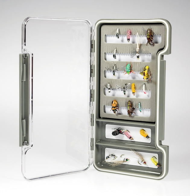 Slim Fly Box, Thin, Clear Water-Resistant w/ Foam And Compartments