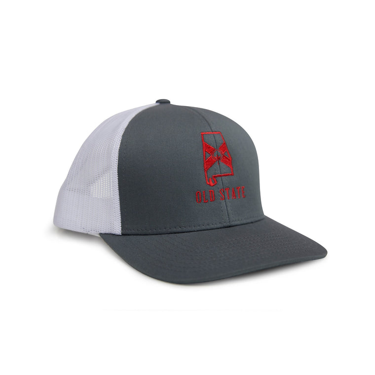 Old State Pride Hats Graphite and Red Alabama - AL State Logo Trucker Hat
