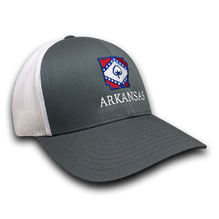 Old State Pride Hats Graphite and White w/ State Flag Arkansas - Arkansas Trucker Hats