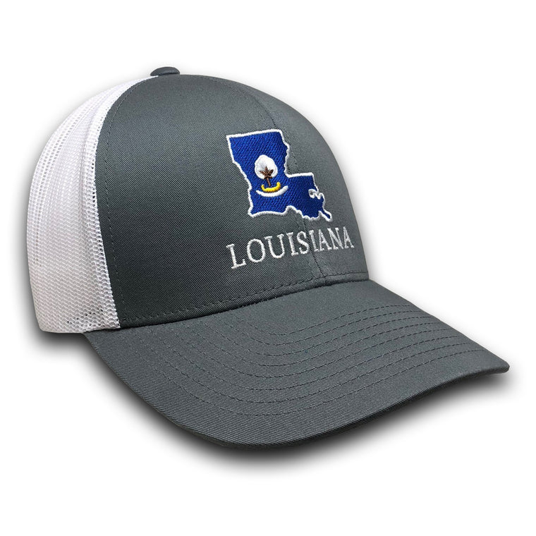 Old State Pride Hats Graphite and White w/ State Flag Louisiana - Louisiana Trucker Hats