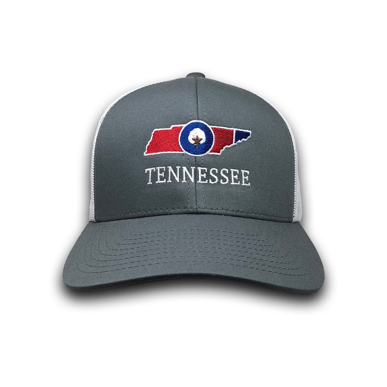 Old State Pride Hats Graphite and White w/ State Flag Tennessee - Tennessee Trucker Hats