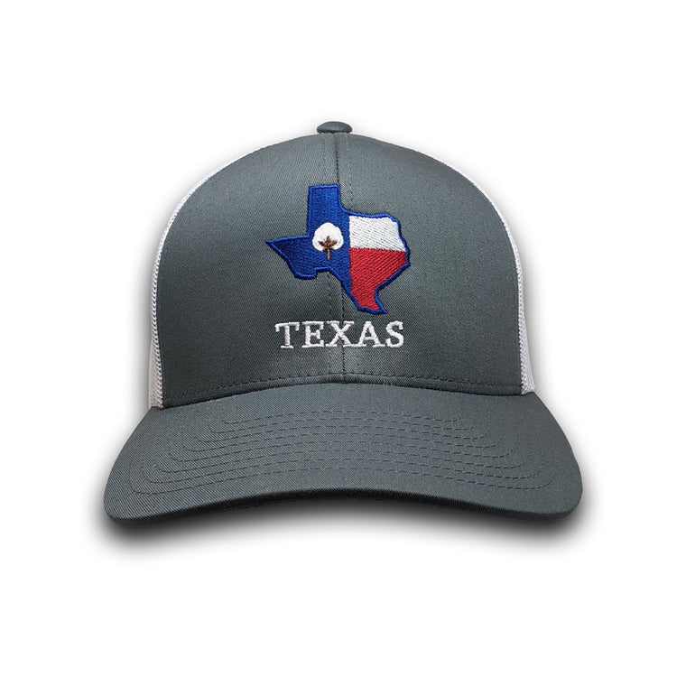Old State Pride Hats Graphite and White w/ State Flag Texas - Texas Trucker Hats