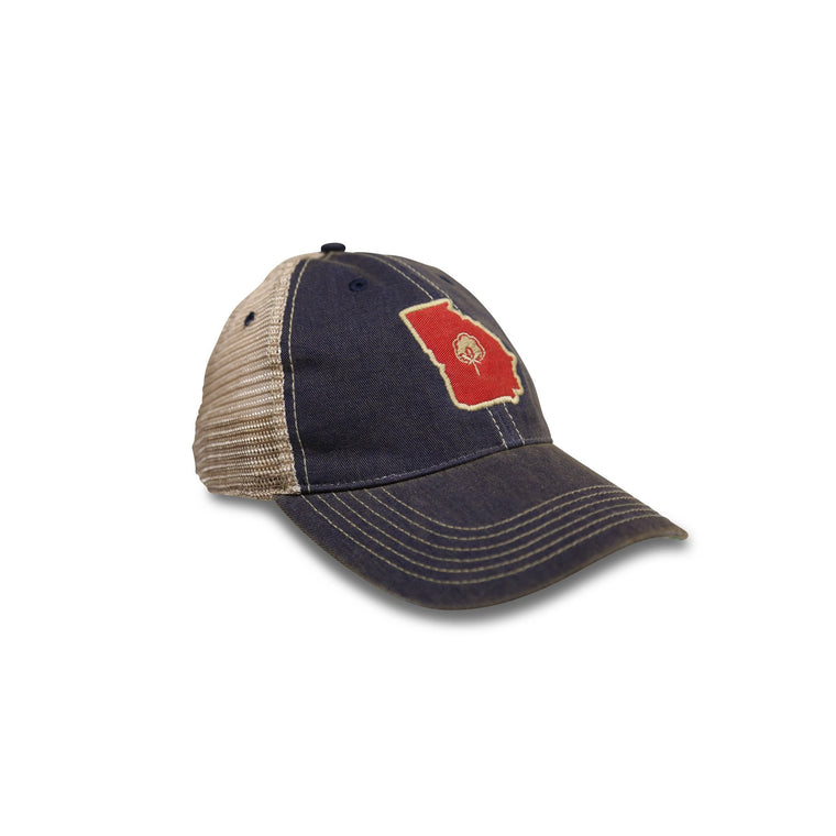 Old State Pride Hats Navy and Red Georgia (GA) Old Favorite Hats