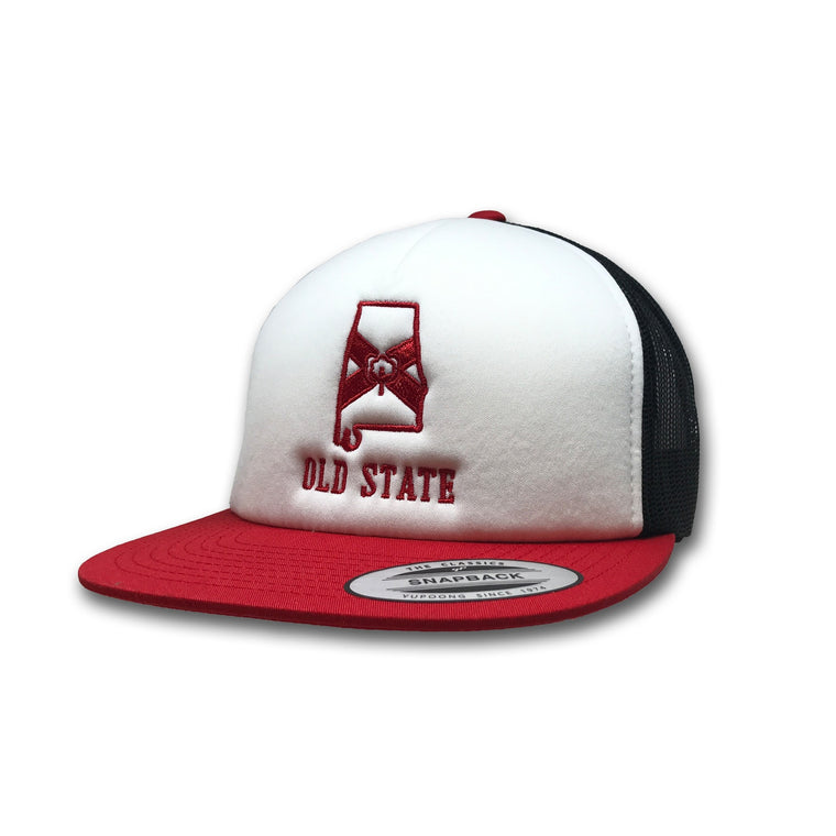 Old State Pride Hats Red Black and White Alabama - AL White Front Foam Trucker