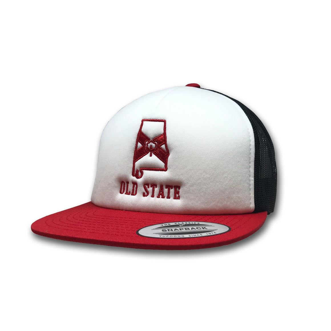 Old State Pride Hats Red Black and White Alabama - AL White Front Foam  Trucker 9fad007a374a