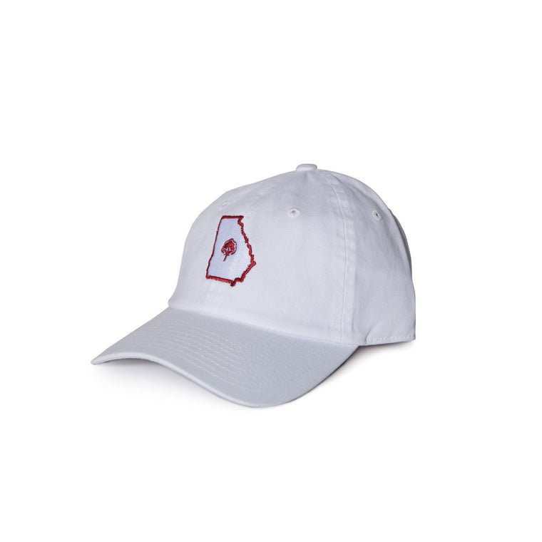 Old State Pride Hats White with Red State Georgia - GA Relax Twill Hats