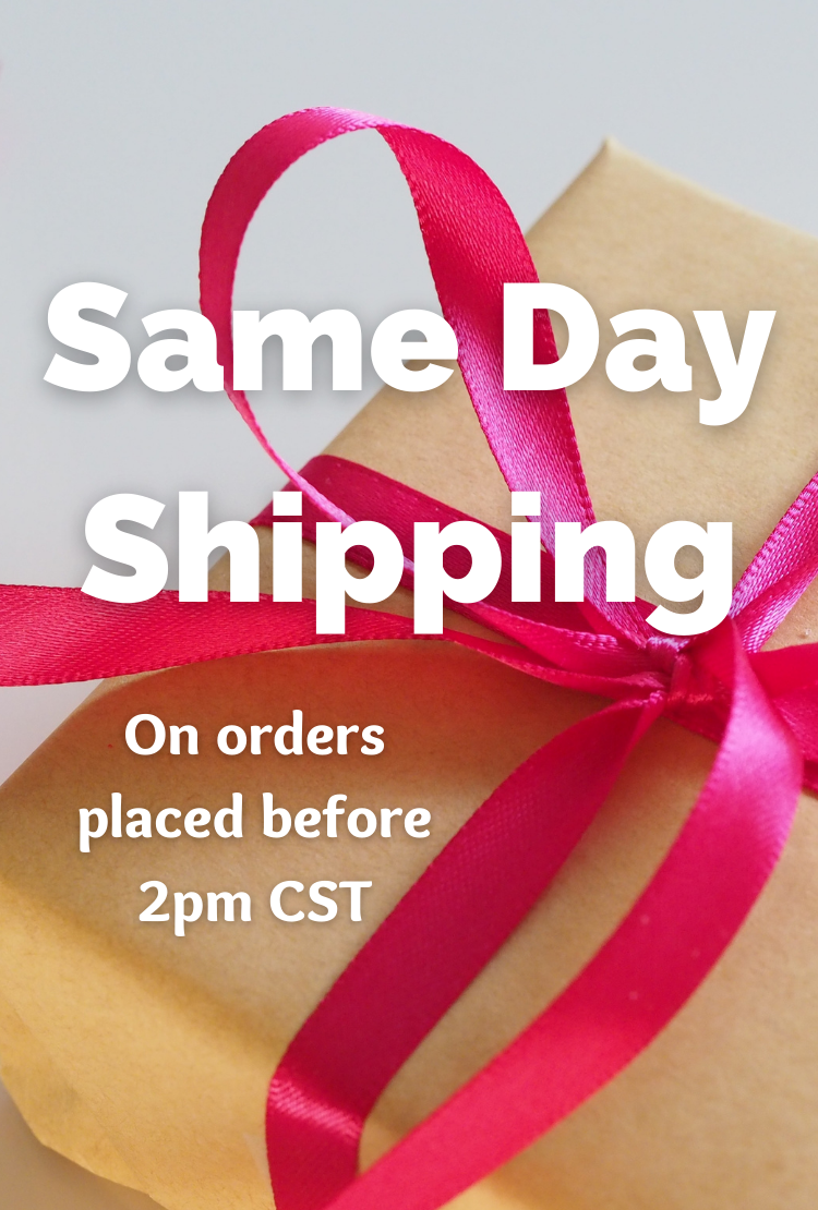 "A box tied with a pink bow, overlaid with the text ""Same Day Shipping On orders placed before 2pm CST"""