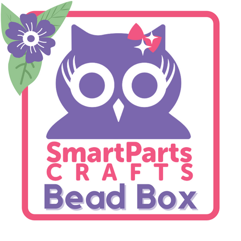 """A purple cartoon owl wearing a sparkly bow on a white background, with a pink box and purple flower around it. Colored text reads """"SmartParts Crafts Bead Box"""""""