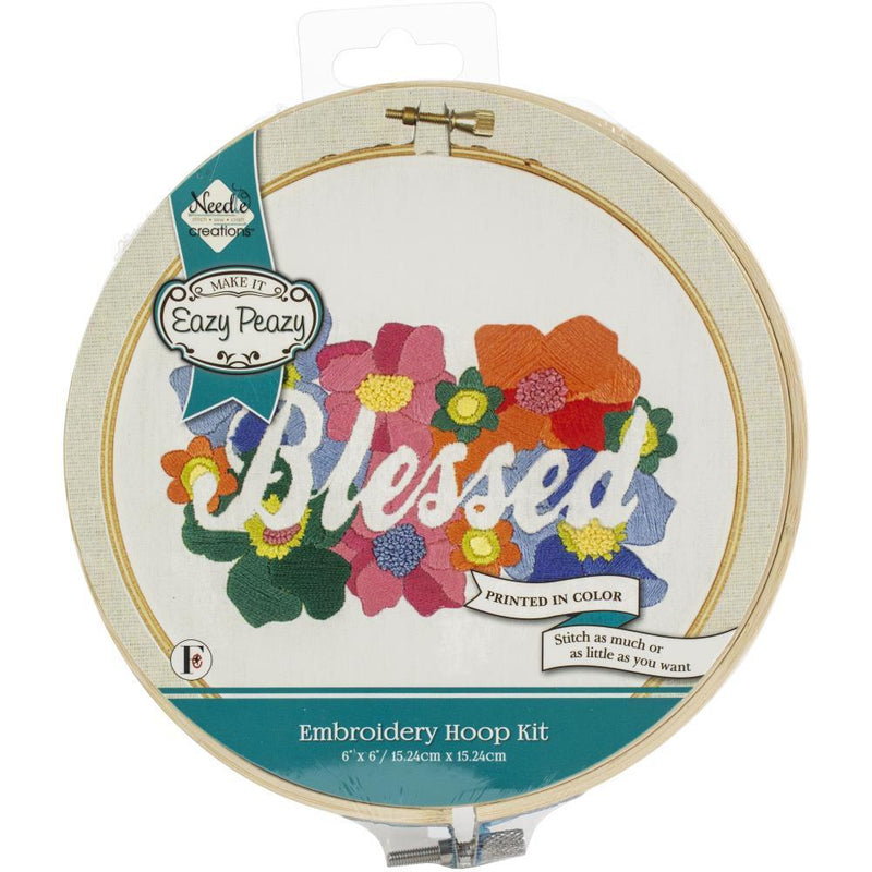 Embroidery Hoop Kit, Blessed floral complete DIY kit, kit0362