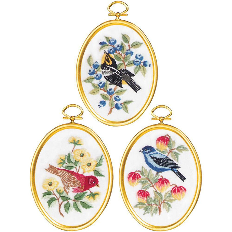 Embroidery Hoop Kits, Feathers & Flora, Set of 3 complete DIY kit, kit0364