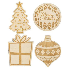 4 Christmas Wood Ornament Shapes for holiday decorating, cft0204