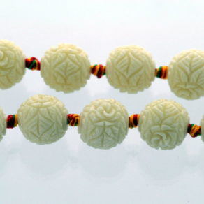 4 Carved Resin Flower Beads 15mm   IVORY OFF WHITE bac0192