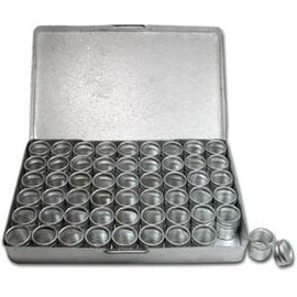 Aluminum Seed Bead Storage Box, 54 Round Bead Jars and Silver Box with Lid, tol0941