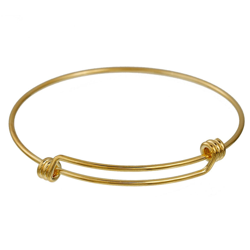 "5 GOLD Bangle Charm Bracelet, triple wrap adjustable size, expandable, fits medium to large wrist, thick 14 gauge, 8-1/4"", fin0580"