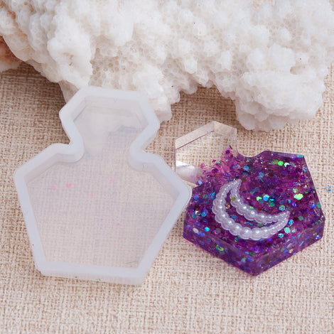 "Perfume Bottle Resin Mold, Silicone Mold to make shape 1.25"" long, tol1015"