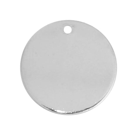"10 SILVER Plated Metal Stamping Blank Charm Pendant, round circle disc, 15mm wide (5/8""), very thick gauge, msb0366"