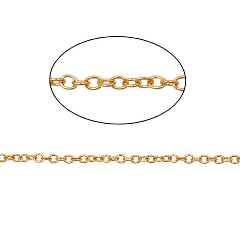 1 yard (3 feet) of GOLD STAINLESS STEEL Cable Link Chain, fine chain, thin chain, oval soldered links are 2mm x 1.6mm  fch0634a