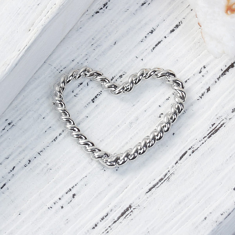 10 Heart Charms, Silver Rope Heart Charms, OPEN HEART Charm Connector Links, 21x17mm, chs3065
