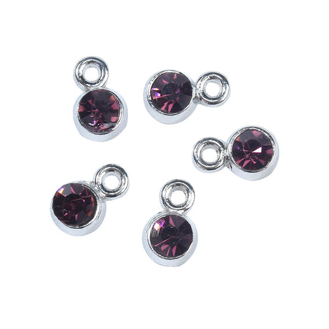 30 Rhinestone Channel Set Charm Drops, AMETHYST PURPLE, silver metal 9x6mm, chs3131