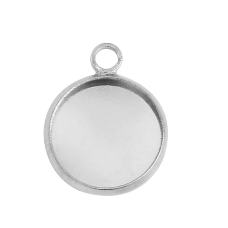 20 Bright Silver Plated Charm Bezel, Fits 12mm Round Cabochons, silver bezel tray, chs3135