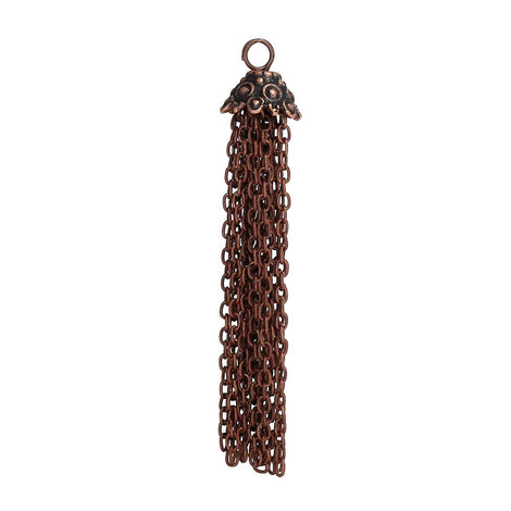 "2 COPPER CHAIN TASSEL Pendant Charms, about 2.75"" long, chs3306"
