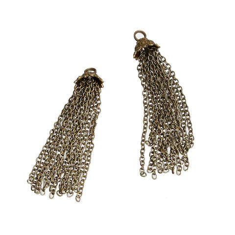 "2 BRONZE CHAIN TASSEL Pendant Charms, about 2.75"" long, chs3307"