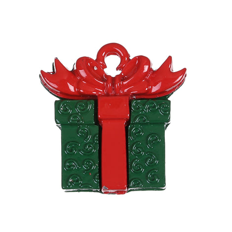 10 CHRISTMAS Charms, Red and Green Gift Box Charms or Pendants, enamel, 20mm, chs3423