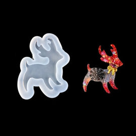 "2 CHRISTMAS REINDEER Resin Molds, Deer Silicone Mold to make shape 1-7/8"" long, cabochons, reusable, tol0875"