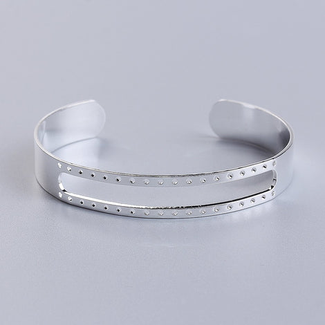 1 Silver Plated Cuff Bangle Bracelet Blank for seed beads, adjustable, fin0730